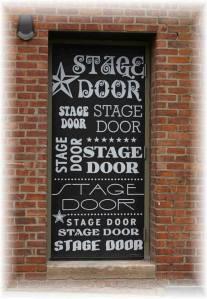 Hand lettered stage door