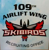 Skibirds hand lettered sign