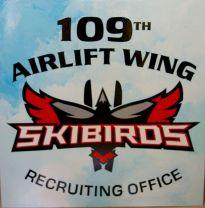 Skibirds hand lettered sign