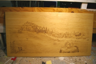 Pyrography scene on headboard.